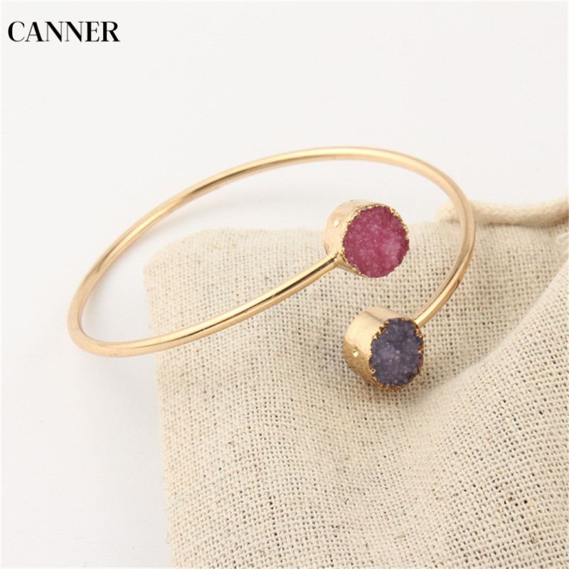 Canner Geometric Vintage Charm Bracelet Femme Round Asymmetry Gold Adjustable For Women Girl Jewelry Gift