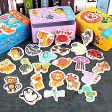 Montessori  Game Early Educational Montessori Toys Puzzle Card Cartoon Traffic Animal Fruit Pair Matching Game Toys for Children