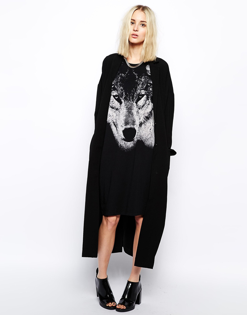 Black t shirt dress knee length - 3d Print Wolf Pattern Sleeveless T Shirt Dress Knee Length Loose Casual Black Cotton Dresses For Women Xs Xxl In Dresses From Women S Clothing Accessories