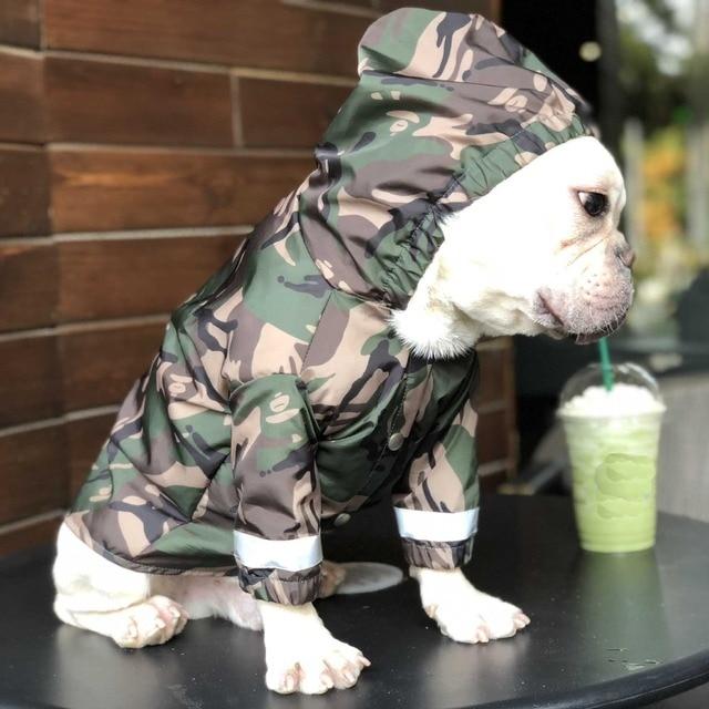 Cão de estimação roupas de capa de chuva para cães grandes camuflagem à prova dwaterproof água roupas chovendo casaco de chuva ao ar livre trajes buldogue francês