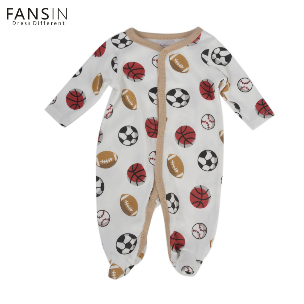 FANSIN Brand Toddler Baby Rompers Long Sleeve Clothing Boy Girl Football Printing Newborn Romper Jumpsuit Kids Cotton Clothes 2016 new newborn infant baby boy girl rompers toddler clothing romper jumpsuit black big eye cotton long sleeve clothes outfits