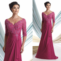 Plus Size Elegant Fuschia V-Neck Beaded Lace Appliques Mother of the Bride Dresses Gowns Chiffon Wedding occasion Dresses