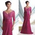 Plus Size Elegante Fuschia Com Decote Em V Frisada Lace Apliques Mãe dos Vestidos de Noiva Vestidos de Noiva Chiffon Vestidos de ocasião