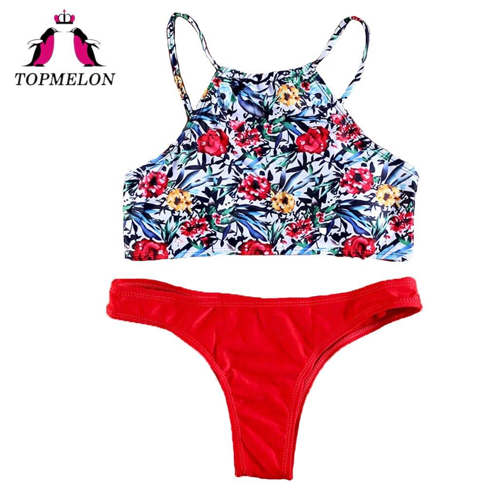 Topmelon Bikini Set Sexy Women Print Floral Halter Backless High-Neck Triangle Bikini Beachwear Bathingsuit Women Bikini Sets