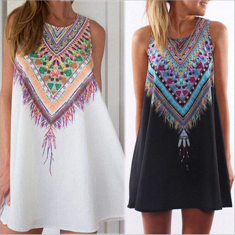 45ad875d28011 High Quality 2016 Summer India Ethnic Women Dresses Loose Sleeveless  Flowers Printed Mini Dress Vintage Hippie Boho Beachwear