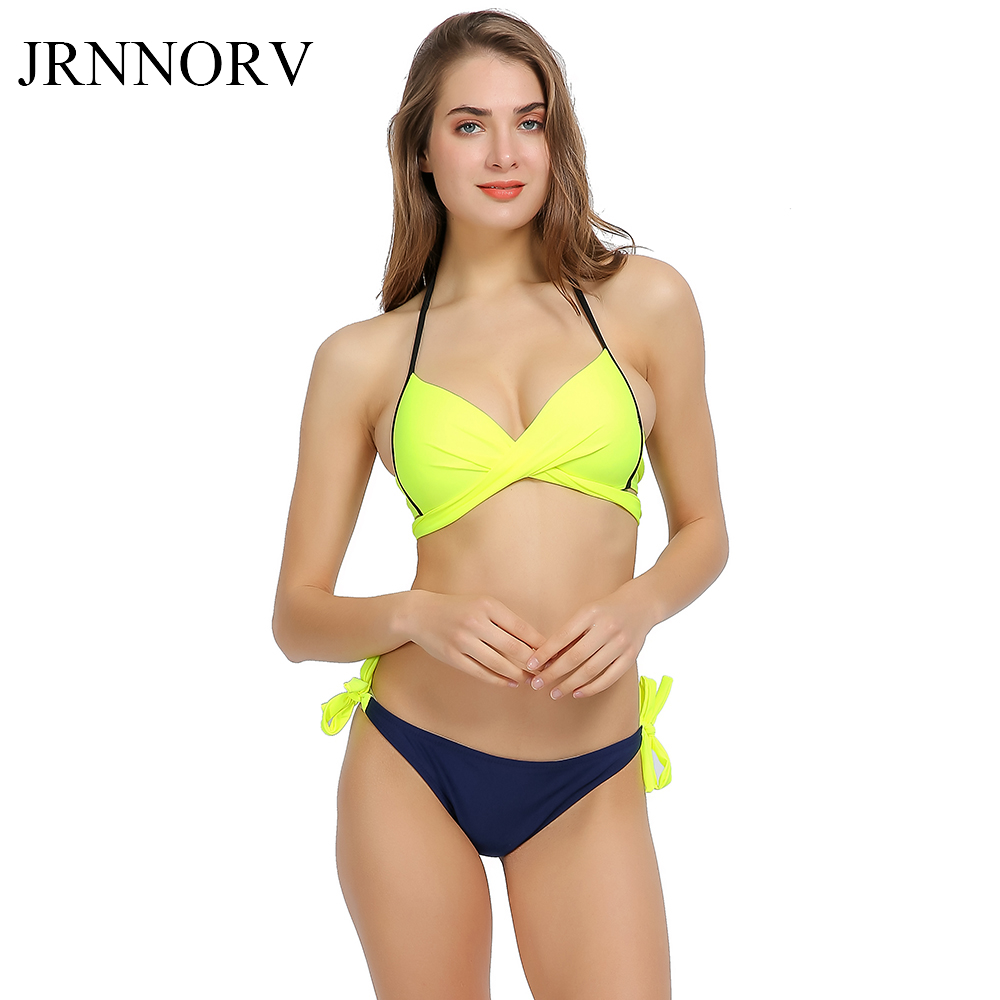 Jrnnorv Top Sexy Bikinis Women Swimsuit Push Up Swimwear Cross Bandage Halter Bikini Set Beach Bathing Suit Swim Wear AA00001