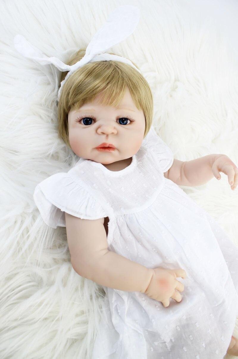 "55cm Full Silicone Reborn Baby Doll Toy 22"" Lifelike Vinyl Newborn Princess Baby Girl Bonecas Bebe Alive Bathe Toy Birthday Gift"