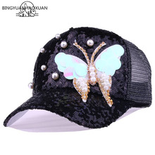 BINGYUANHAOXUAN Summer Mesh Baseball Cap with Sequins Butterfly Rhinestones Women Snapback Caps 5 Panel Sun Casual Hat