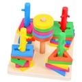 Novas coloridas de madeira brinquedo intelectual 5 pilares blocos definir cores e formas de reconhecimento bloco de madeira frete grátis