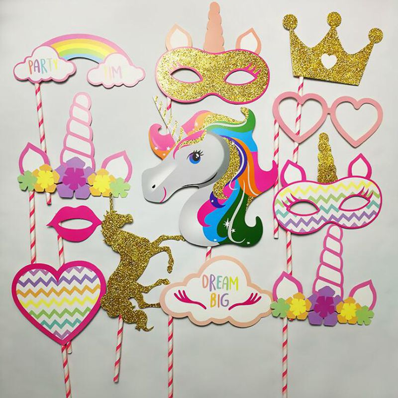 12pce/lot Unicorn Party Decoration Photo Booth Props Happy Birthday Party Decoration Kids Glitter Baby Shower Photobooth Props