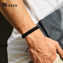 New Fashion Double Layer Braided String Bracelet Men 4mm Obsidian Brazalete Adju