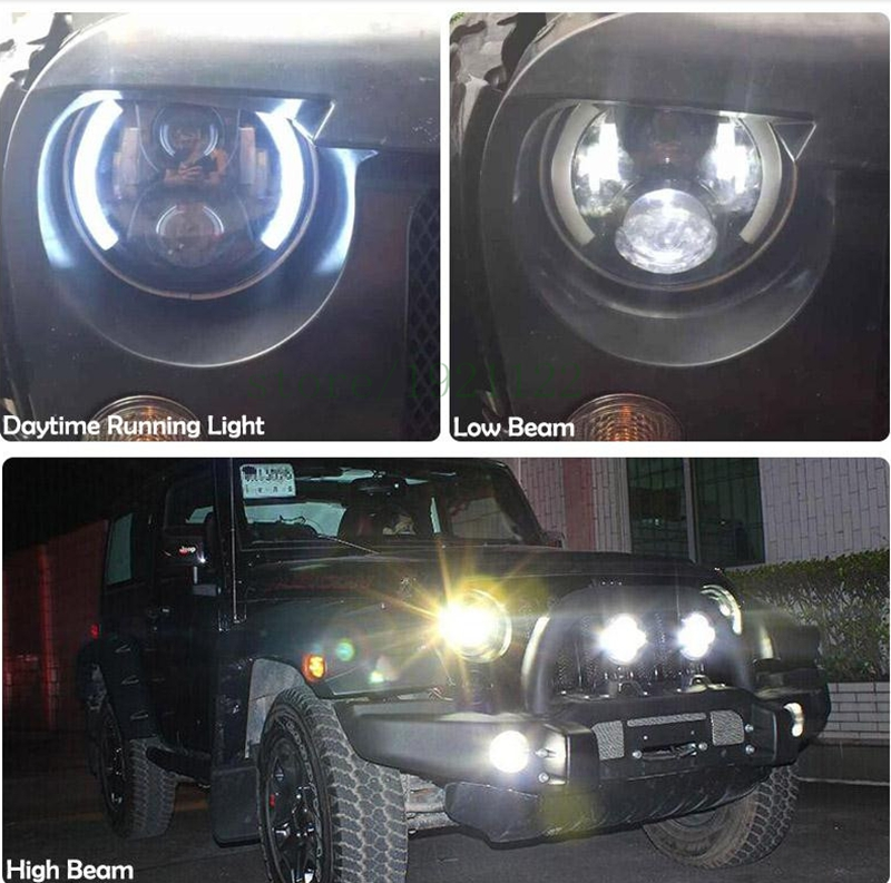 2 Pieces 7inch Off road Led Headlight 60W Round Halo Ring High/Low Beam 7 DRL Headlight Led For Jeep Wrangler Harley Headlight led 75w headlamp 7inch round chrome 6000k high low beam motorcycle led headlight for jeep wrangler hummer off road