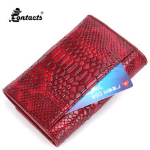 CONTACT'S C2112 Brand Design High Quality Women Leather Wallet Fashion Designed Coin Purses Red Womens Wallets And Purses Short