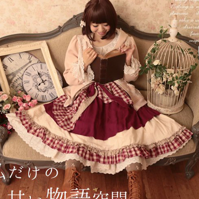 Spring Mori Girl Sweet Skirt Women' Multi Layer Patchwork Lace Vintage Plaid Lovely Cotton Lolita Female Pleated Skirts T248