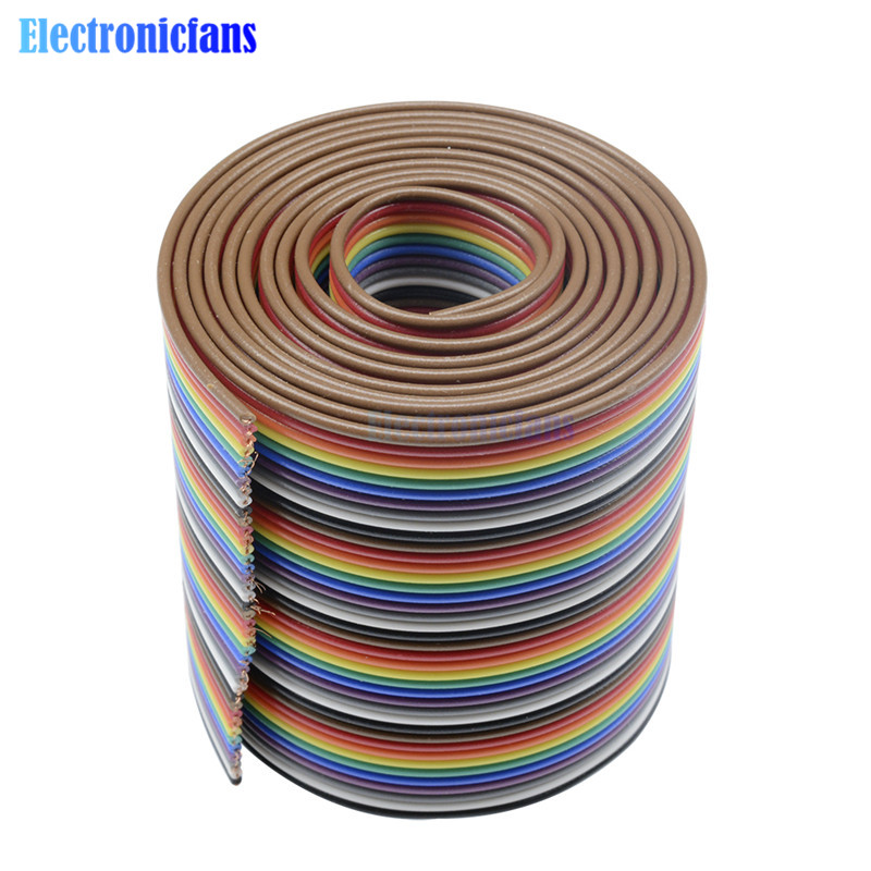 1M 3.3ft 40 Way 40 Pin Flat Color Rainbow Ribbon IDC Cable Wire Rainbow Cable In Stock