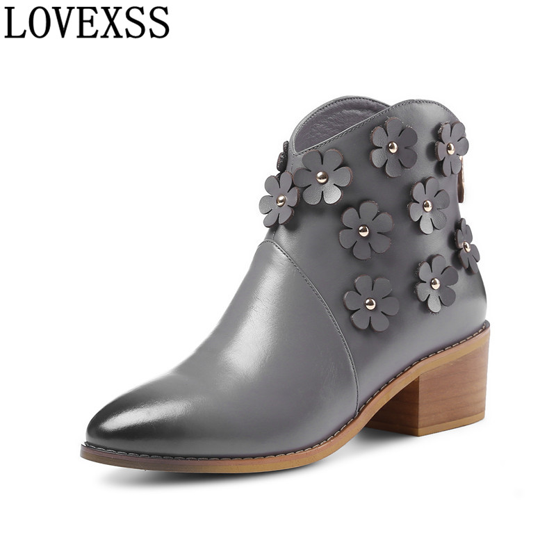 LOVEXSS Woman Cow Leather Pointed Toe High-heeled Adult Boots Flower Black Beige Gray Cow Leather Pointed Toe Adult Boots 2017 груша скоростная cow leather everlast 4241u