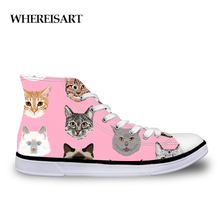 WHEREISART Spectacular Cats Print Women Sneakers Fashion Vulcanized Shoes Canvas High top Zapatos Tenis Feminino