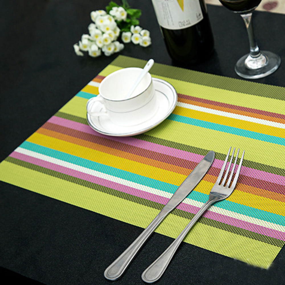 4pcs lot heat resistant pvc kitchen dinning stripe table for Table placemats