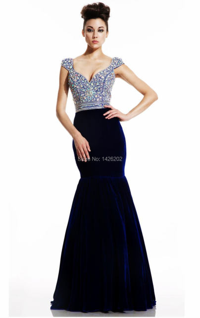 2015 Royal Blue Velvet Prom Dress PA 0283 Mermaid Bling Crystal ...
