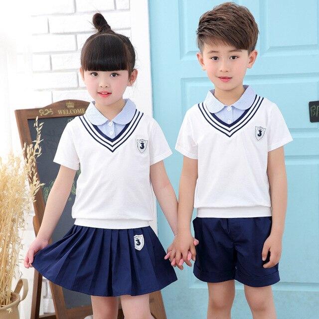 ec7732cad8f6 New Pattern Kindergarten Park Summer Wear Self-cultivation Children Uniform  Suit Pupil Class 2 Pieces Kids Clothing Sets