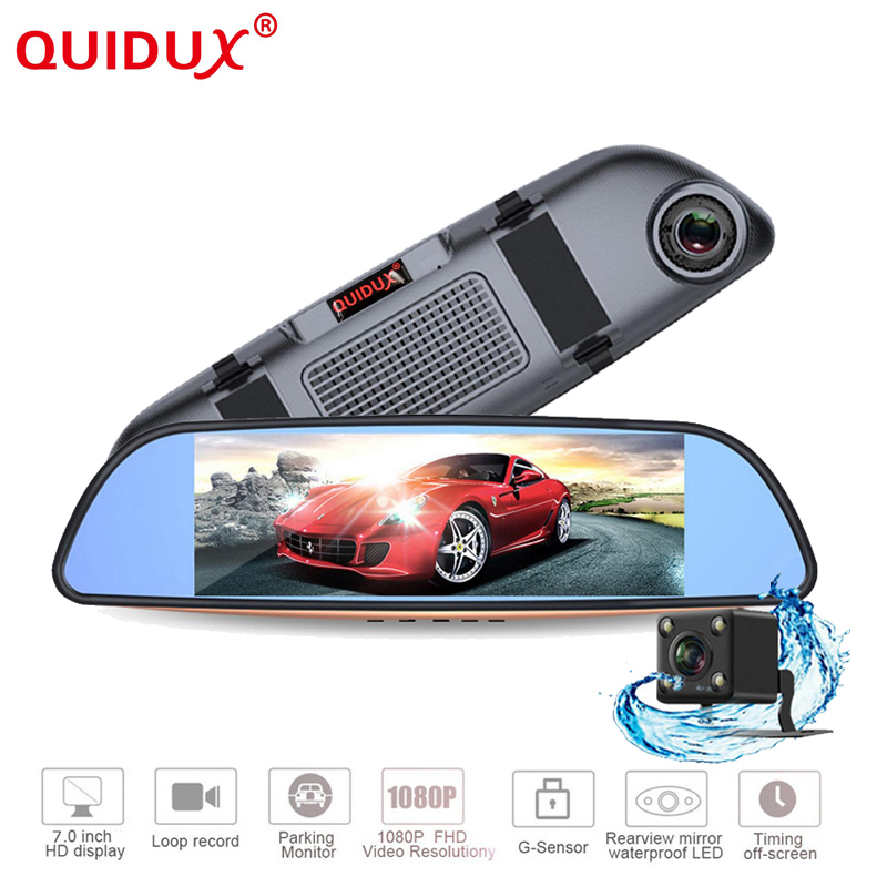 QUIDUX Full HD 1080P 7 LCD Car Rearview mirror with DVR and camera Parking recorder Night Vision Car DVR Dual Camer plusobd car recorder rearview mirror camera hd dvr for bmw x1 e90 e91 e87 e84 car black box 1080p with g sensor loop recording