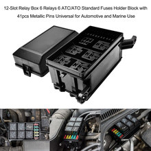 popular accessory fuse block buy cheap accessory fuse block lots12 slot relay box 6 relays 6 atc ato standard fuses holder block with 41pcs metallic pins universal for automotive accessories