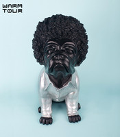 Modern Creative Unique Personified Bulldog Figurine With Curling Hair Design Dog Ornaments Lovely Dog Decorative Articles