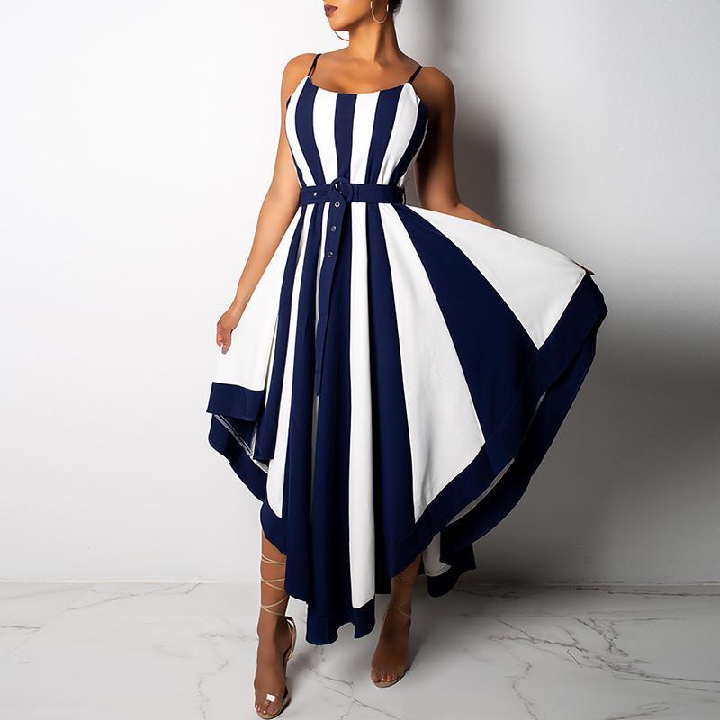 Femmes robe d'été asymétrique Boho noir blanc rayé robe Sexy asymétrique ceinturée décontracté longues robes de soirée