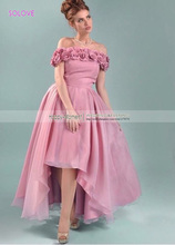 Off Shoulder Flower High Front Long Back High Low Adult Pink Bridesmaid Dress 2015 Wedding Event
