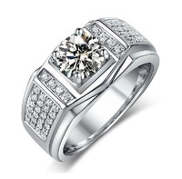 choucong Solitaire Jewelry Men White Stone 5A Zircon stone 10KT white gold filled Engagement Wedding Ring Sz 7 13 gift