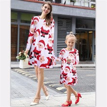 Christmas family matching clothes long sleeve Santa print Mother Daughter Dresses Family look Clothing mom and daughter dress