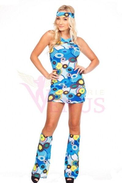 Ladies 60s 70s Retro Hippie Go Go Girl Disco Costume Fancy Dress Hen Xmas Party