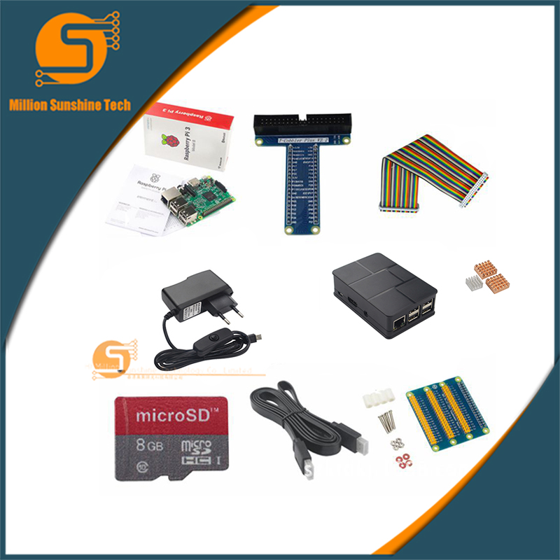 Raspberry pi 3 + Heat sink+ Case Box+ 1.5m HDMI++power charger plug+GOPI Kit+8G SD for Raspberry pi 3 B free shipping tengying l298n motor driver board for raspberry pi red