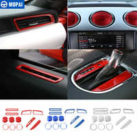 MOPAI ABS Car Interior Gear Shift Dashboard Door AC Air Vent Decoration  Ring Cover Trim Stickers For Ford Mustang 2015 Up