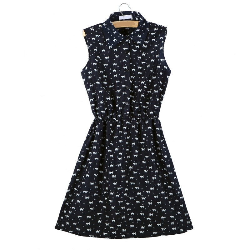 Softu Hot Sale Women's Fashion Summer Casual Shirts Dress Sleeveless Tank Knee Length A Line Dress Cat Printed Dresses With Belt 10