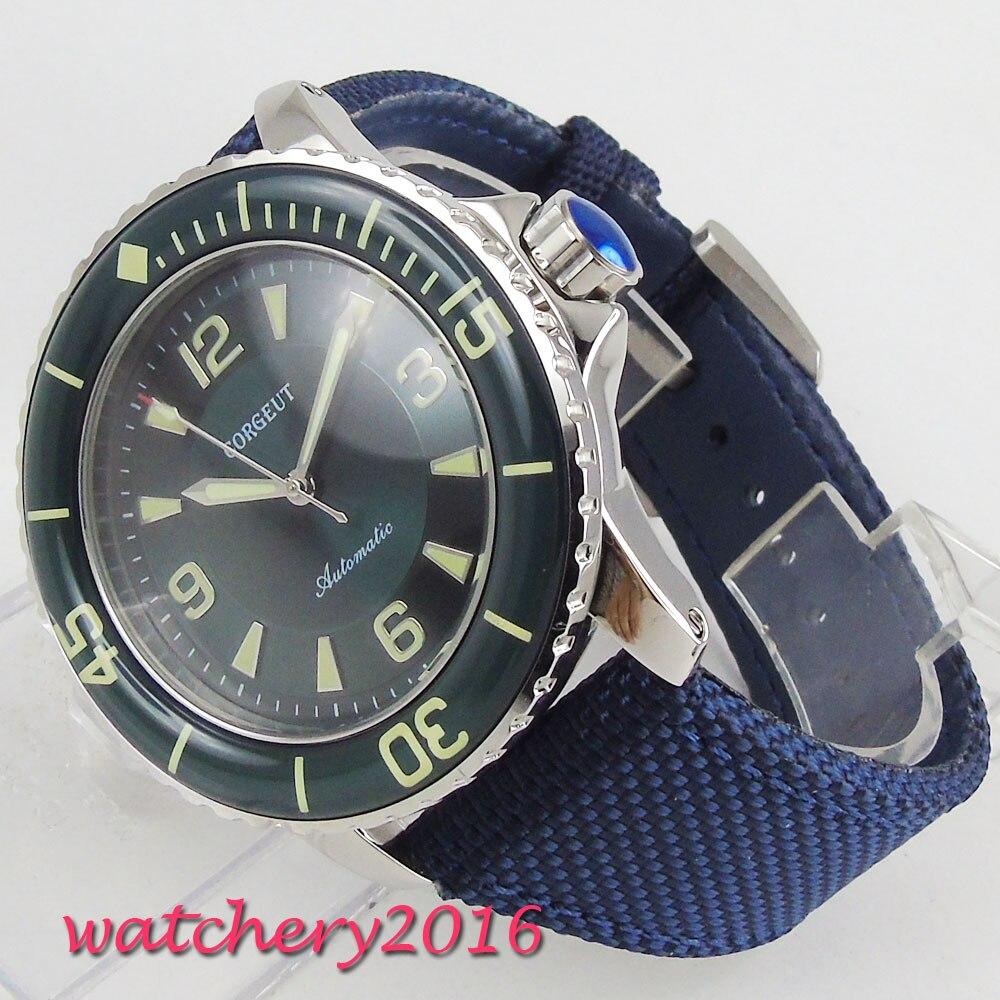 Corgeut Automatische Taucher Uhr Super Leucht Miyota Metall Mechanische Uhren Grün Zifferblatt Top Marke Beste Billig Verkauf-in Mechanische Uhren aus Uhren bei  Gruppe 1