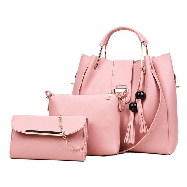 9ea9da1e3d 3Pcs/Sets Women Handbags Leather Shoulder Bags Female Large Capacity Casual  Tote Bag Tassel Bucket Purses And Handbags Sac Femme