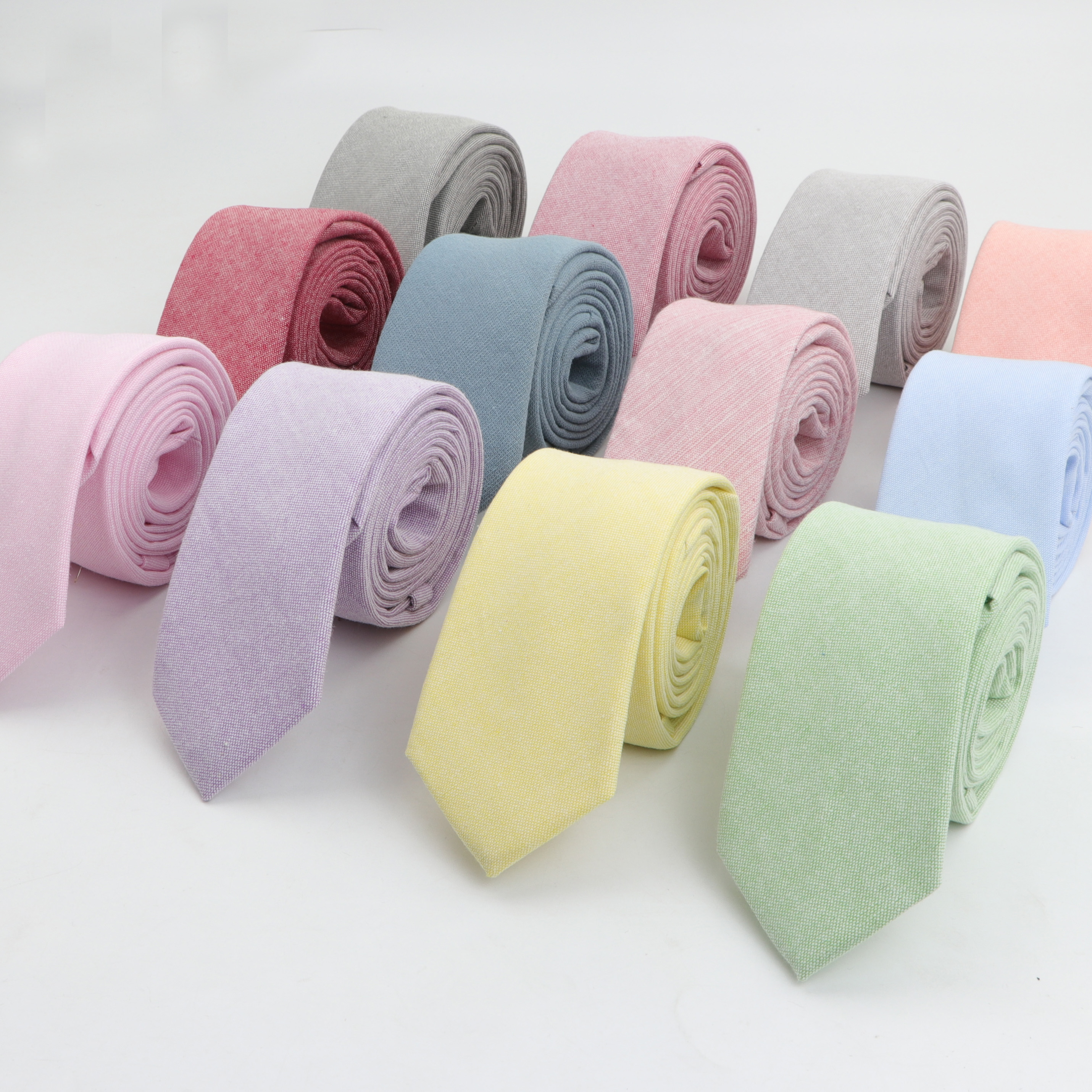 Solid Color 6cm Width Tie Cotton Pure Colorful Slim Neckties For Wedding Ties Skinny Groom Necktie For Men