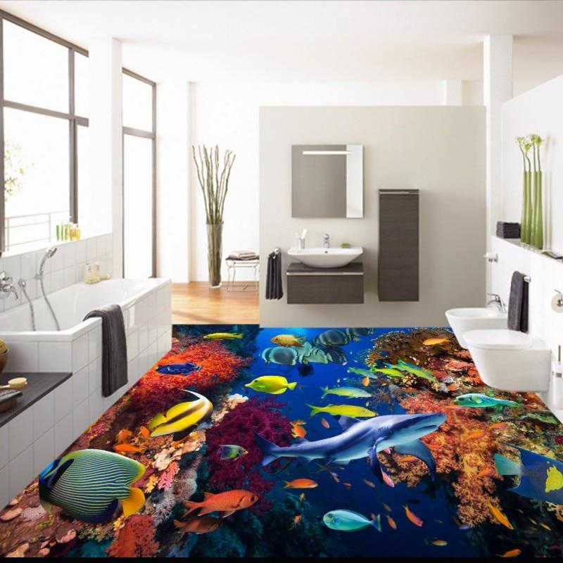 Free Shipping Underwater World Coral Fish 3D Floor Painting self-adhesive living room bedroom bathroom study flooring mural free shipping marble lotus carp bathroom walkway kitchen 3d floor stickers self adhesive bedroom living room flooring mural