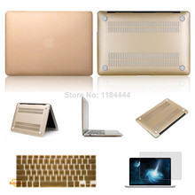 New 3 in 1 Gold Hard Protection Matte Case cover+ Keyboard Protector+LCD film for Macbook Pro Retina 13 15 For Macbook Air 11 13
