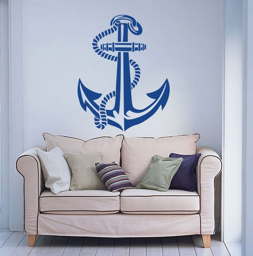 New Arrival Nautical Ship Anchor Sailor Boat Wall Sticker Home Decor Eco-Friendly Vinyl Art Mural Carved Wall PaperY-191