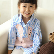 striped Rabbit baby girl shirt Turn down Collar Full Sleeve Casual Kids Blouse Camisa Slim Fit