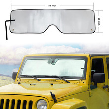 Chuang Qian New Front Heatshield Windshield Sun Shade Visor Sunshade Cover Keeps Cool-UV Ray for 2007-2018 Jeep Wrangler JK JKU