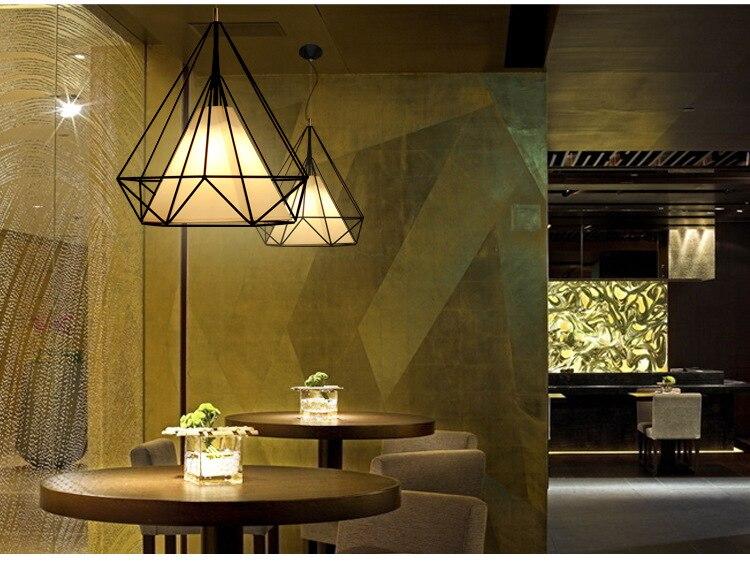 Moderne vogelkooi hanglamp diamond iron minimalistische retro