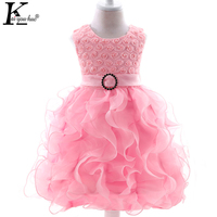 KEAIYOUHUO Vestidos 2017 New Summer Baby Girl Clothes Fashion Decals Pearl Princess Dress Cute Bowknot Net