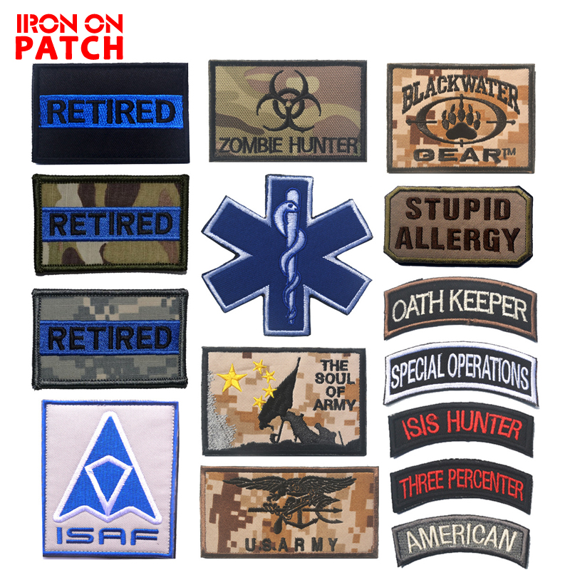 Useful Military Blood Type Tactical Army Embroidered Hook Patch Armband Gifts FO