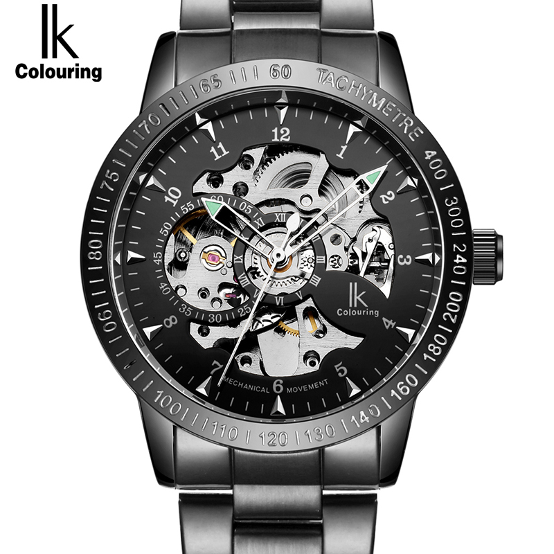 цены на Top Black Mechanical Watch Luxury Automatic Skeleton Watch Mens Fashion Casual Stainless Steel Wristwatches Relogio Masculino