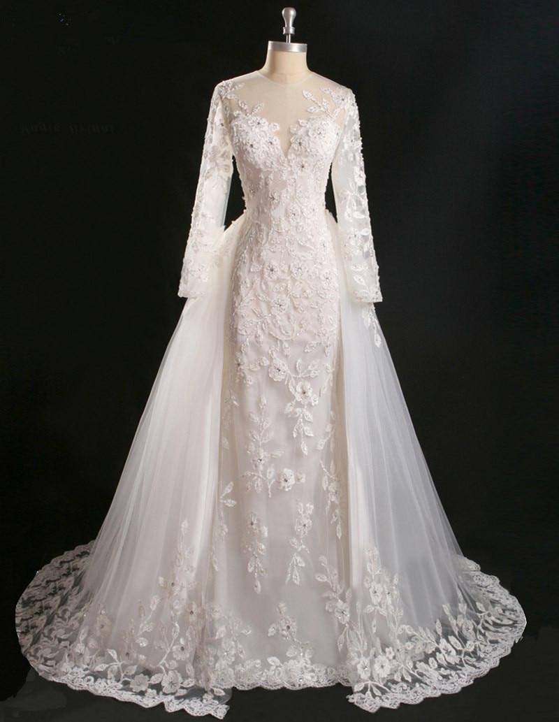 Vestido De Noiva Princesa Real Vintage Lace Long Sleeve Mermaid 2018 Detachable Skirt Bridal Gown Mother Of The Bride Dresses