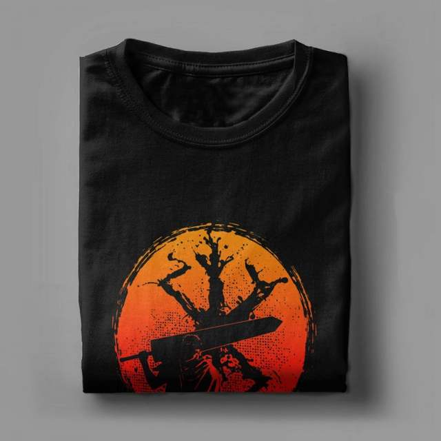 Berserk Guts Sunset T Shirt for Man Short Sleeved Tee Cotton T-Shirt High Quality O-neck Tops Birthday Gift Clothing Plus Size