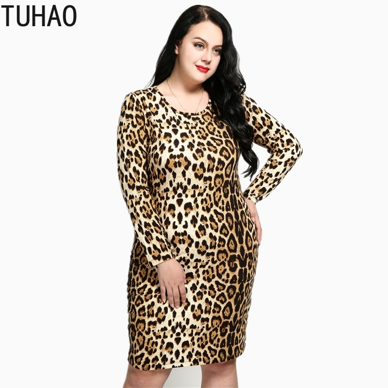 TUHAO Spring Office Lady Elegant Women's <font><b>Dresses</b></font> Plus Size 7XL <font><b>6XL</b></font> 5XL Leopard Long Sleeve Woman Pencil Party <font><b>Dress</b></font> RL image